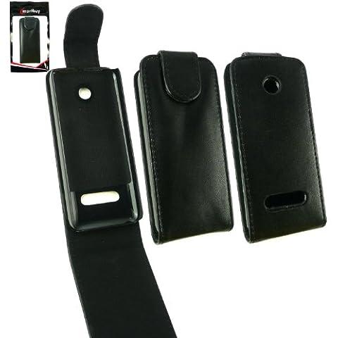 Emartbuy® Nokia 301 Premium Di Cuoio Di Caso Di Vibrazione / Copertura / Sacchetto Nero