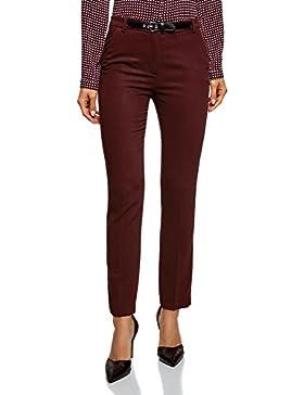 oodji Collection Mujer Pantalones Rectos con Cinturón