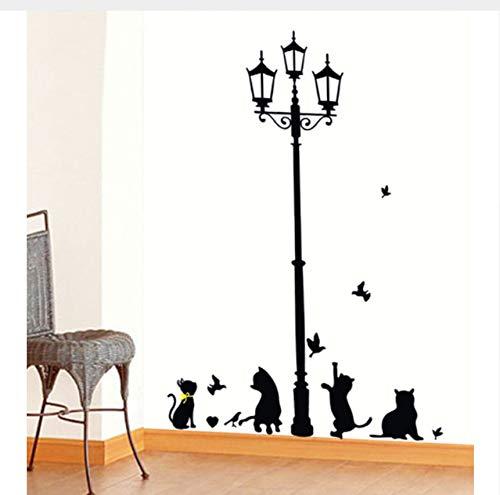 Zybnb Neue Heiße Naughty Cats Vögel Und Straßenlaterne Lampe Post Wandaufkleber Dekoration Schulzimmer Kindergarten Wandaufkleber