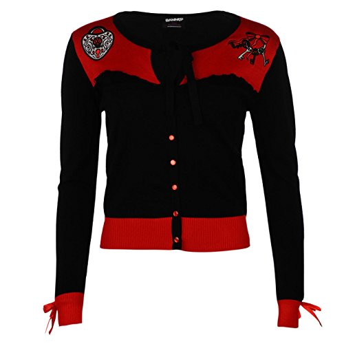 Banned-Patch maglia Cardigan giacca scollo rotondo maniche lunghe bottoni Be Mine Small