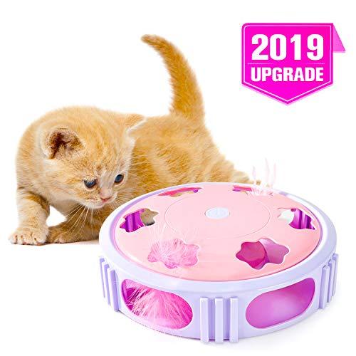 WWVVPET Interaktives Katzenfeder Spielzeug, zufällig bewegtes Katzenspielzeug mit Glocke, automatisches Abschalten des Verfolgungsjagd-Teaserspielzeugs mit LED-Licht, lustige Rollenspinnübung