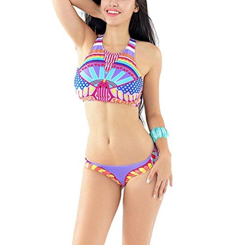 Sexy Frauen Bikini Badeanzug Digitaldruck Pink