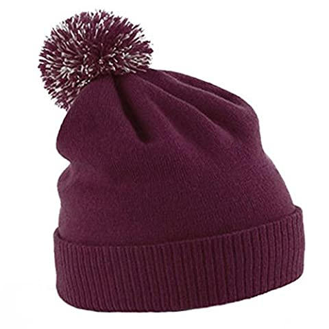 Unisex Beechfield Snowstar Duo Winter Knit Beanie Bobble Hat Burgundy/Off White One Size