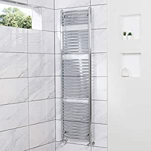 Contemporary Curved Heated Towel Rail Radiator 1800 x 500 Chrome