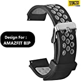 Taslar Soft Replacement Breathable Sport Bands with Air Holes for Huami Amazfit Bip Smartwatch (Black Gray)