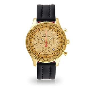 Detomaso Firenze XXL de Hombre Reloj de Pulsera Cronógrafo analógico de Cuarzo de Oro Caja de Acero Inoxidable Esfera de Oro