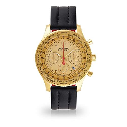 DETOMASO Firenze XXL Herren-Armbanduhr Chronograph Analog Quarz goldenes Edelstahlgehäuse goldenes Zifferblatt (Leder - Schwarz)