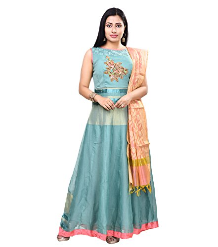 Vedika Creations Sea Green Colour Georgette Anarkali Salwar Kameez.