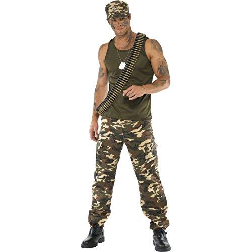 Soldat Kostüm Soldatenkostüm Khaki M 48/50 Herrenkostüm Army Krieger Kämpfer Armee Militär Uniform Karnevalskostüme Männer
