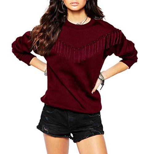 Fur Story 17A21 Femme Pull ¨¤ capuche avec col roul¨¦ Vin Rouge