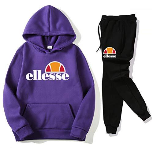 SIMPLE LOVE Ellesse Kapuzenpullover Herren Jogging Anzug + Lange Hose Hip Hop Hoodies Classic Logo Hooded Sweatshirt Cotton Pullover Sportanzug,Lila,XL