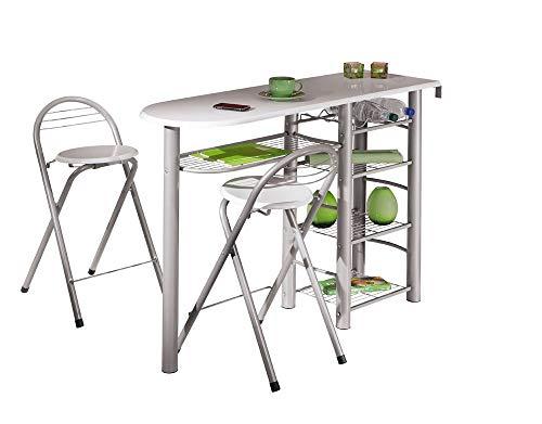 Inter Link Frolly 1 Mesa de Cocina con 2 taburetes de Bar MDF Blanco Metal Brillante Gris Plateado, Aluminio