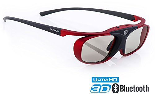 Hi-SHOCK 3D-BT Pro 'Scarlet Heaven' | Smart Active 3D Brille für FullHD 3D / 4K 3D / HDR 3D TV's...