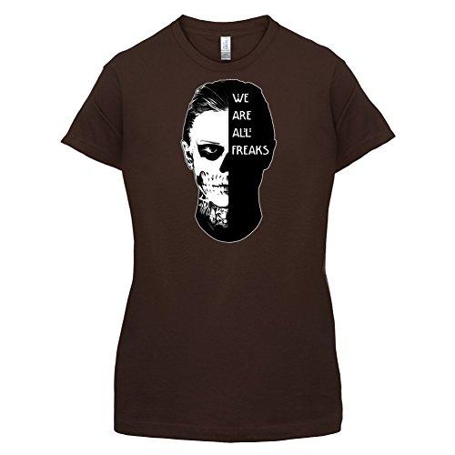 We Are All Freaks FACE Design - Damen T-Shirt - Dunkles Schokobraun - XXL