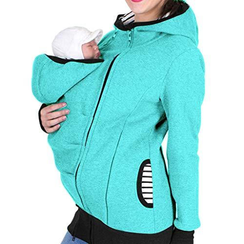 Riou Damen Winter Tragejacke für Mama und Baby 3in1 Kängurujacke Warme Zipper Hooded Mutterschaft Schwanger Tragepullover (2XL, hellblau)