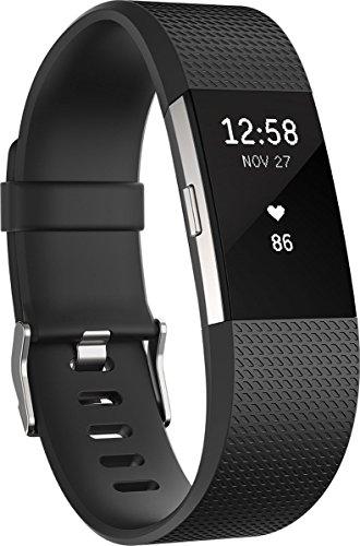 Fitbit Charge 2 Braccialetto Monitoraggio Battito Cardiaco e Attività Fisica, Nero, Taglia L
