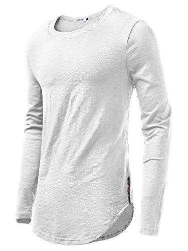 KAIUSI Herren Rundhals Langarmshirt Tee Shaped T-Shirts Weiss M