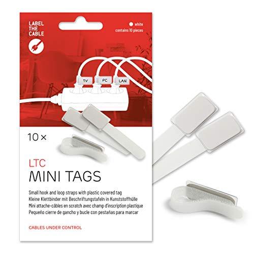 Label-the-cable Kabelbeschriftung mit Klettband, Klettbinder (Klettverschluss) mit Beschriftungsfeld, Kabelkennzeichnung, Kabelmarkierer, Kabeletikette/ LTC MINI TAGS, 10 Stück, Weiß, LTC 2520