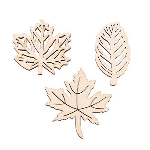 Amosfun 20 Stück unbehandelte Holz-Ausschnitte Dekorative Holz-Ahornblätter Hollow Out Holzstücke Basteln für DIY Basteln Ornamente Dekoration (Burlywood)
