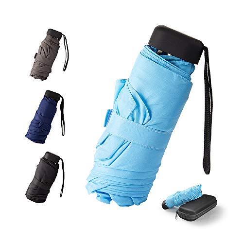 Mini - Schirm Mini Regenschirm - Pocket Taschenschirm - UV-undurchlässig inkl. Schirm-Tasche & Reise-Etui – klein, leicht & kompak windsicher, stabil (Hellblau)