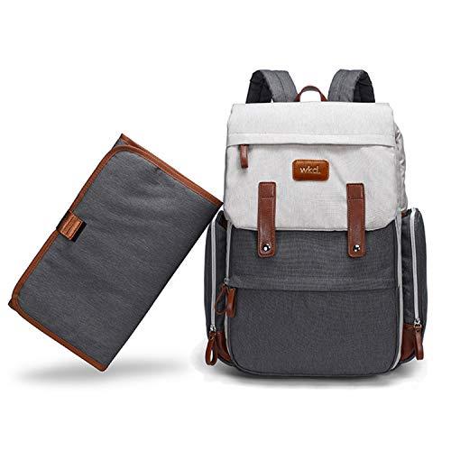 Wickeltasche von WKD Online - Wickelrucksack mit Thermo-isolierten Taschen für Babyflaschen - inkl. Wickelunterlage und Kinderwagengurten - Großes Fassungsvermögen Unisex Rucksack für Mama und Papa