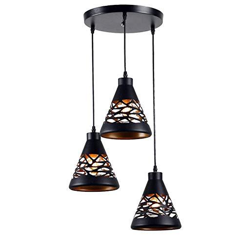 YB Moderne speisende hängende Lampe schwarzes Eisen-Lampenschirm runder Entwurf Retro Decken-Suspendierungs-Pendelleuchte-Leuchte 3 Lichter höhenverstellbar Innen-Speisetisch Wohnzimmer-Küche-Insel-S -