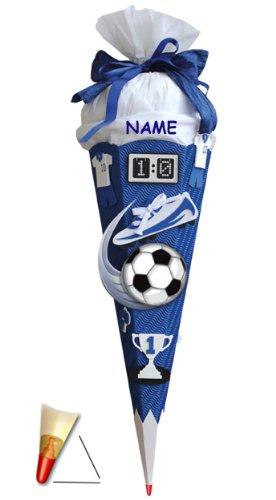 Preisvergleich Produktbild BASTELSET Schultüte - Fußball 85 cm - incl. Namen - mit Holzspitze - Zuckertüte Roth - ALLE Größen - 6 eckig Fußballer Fussball Sport Jungen Weiß Blau