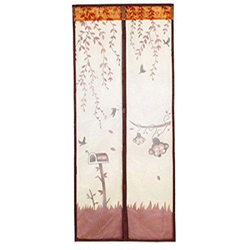 Souarts Kaffeebraun Fliegengitter Magnetvorhang für Türen Insektenschutz Türvorhang Moskitonetz mit Magnetverschluss 90*210cm(B*H)