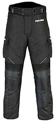 TR-001 | Profirst CE Approved All Weather Waterproof Armoured Motorbike Motorcycle Trouser Pant with Removable Lining (Full Black, Large 34 Waist)