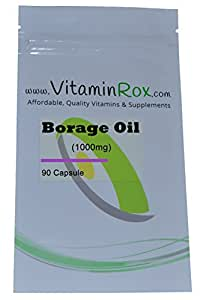 Borage Oil [1000mg] - 90 Capsule | Richiudibile Foil Package [Olio di borragine | Starflower olio]
