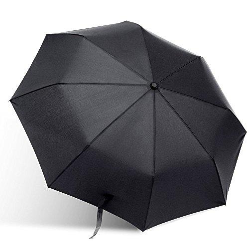 Totoose Taschenschirm faltender automatischer Regenschirm Vinyl-Beschichtung winddicht wasserabweisende Sonnenschutz UV-Schutz kompakt Stahl Stockschrime Umbrella( schwarz ) (Spitze Wellies)