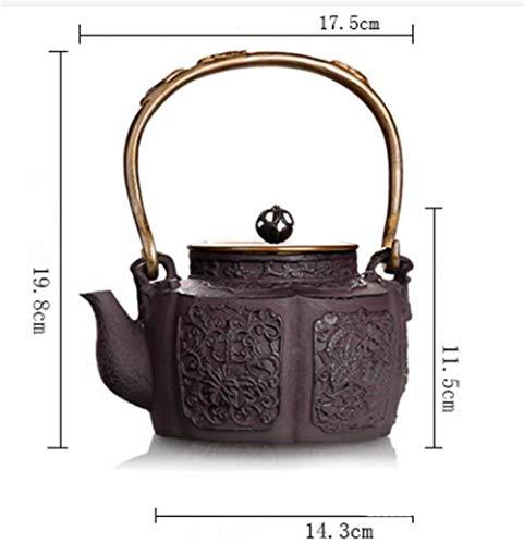 FJH Gusseisen Teekanne,Japanischer Art-unbeschichteter Handgemachter Tee-Kessel 1.1L 3008