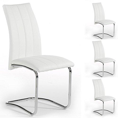 IDIMEX 4er Set Esszimmerstuhl Schwingstuhl Alessia, verchromtes Metallgestell, Lederimitat in Weiß