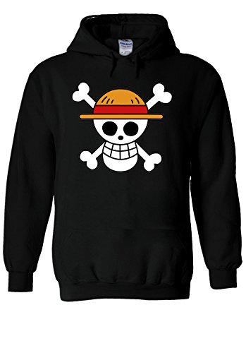 One Piece Flag Japanese Manga ????? Novelty Black Men Women Unisex Hooded Sweatshirt Hoodie-S -