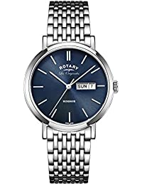 Rotary Men's Quartz Watch with Blue Dial Analogue Display and Silver Stainless Steel Bracelet GB90153/05