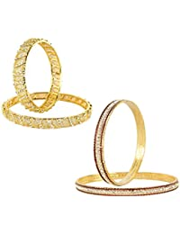 VK Jewels Gold And Rhodium Plated Alloy Bangles Set Combo For Women & Girls Made With Cubic Zirconia - COMBO1464G...