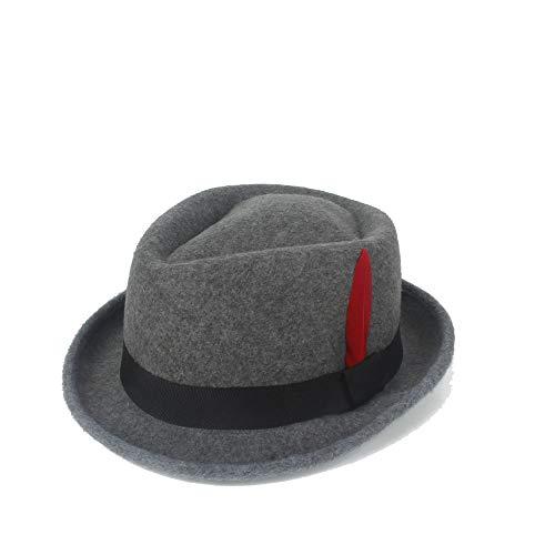 SANHENGMIAO STORE Für Damenhüte Zustrom Soft Hat Winter und Winter fühlte rote Feder Hut Panama Hut männlich Jazz Hut Ritter Hut (Farbe : Navy Gray, Größe : 56-58CM)