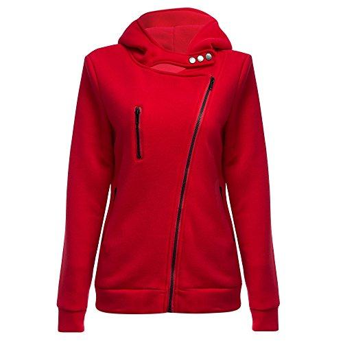 Hannea Casual Turn-down Collar Zipper Button Design Hoodie for Women