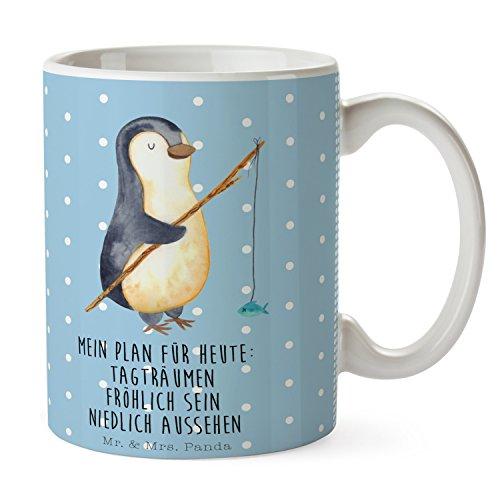 Mr. & Mrs. Panda Kaffeetasse, Frühstück, Tasse Pinguin Angeler mit Spruch - Farbe Blau Pastell