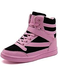cc3d9356f5b064 UBFEN Damen Sneaker Wedges Keilabsatz Schuhe High Top Stiefeletten  Sportschuhe Klettverschluss Freizeitschuhe Turnschuhe…
