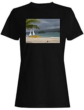 La vida es hermosa playa paraíso para el mundo de viajes camiseta de las mujeres b970f