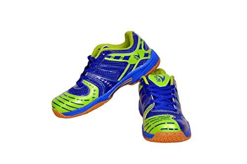 V22 Ultra Badminton Court Shoe, Size 8 (Blue/Neon Green)