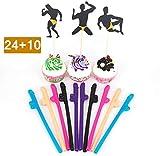 CYOUNG Set de decoración de Fiesta de Despedida de Soltera - 24 Bailarines Masculinos Strippers Toppers de Cupcake y 10 pajitas Kit de decoración de Noche de Noche y gallinas traviesas