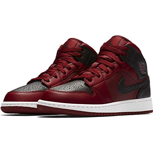 NIKE 554725-601 : Grade School Air Jordan 1 Mid Basketball Shoes Team Red (4.5 M US Big Kid) (Jordan Grade Schuhe School)