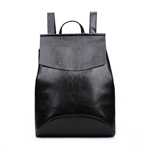 Y&F Schultertaschen Rucksack Handtasche Rucksack Schulranzen Leder 28 * 35 * 13 Cm black
