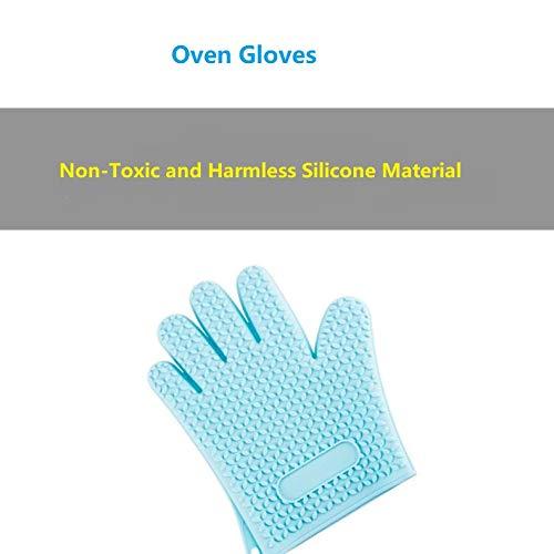 Elegantes guantes de silicona aislados para barbacoa - Manoplas de horno largas impermeables para cocinar...