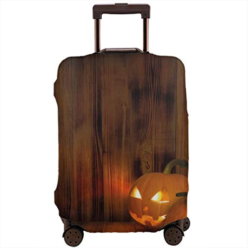 Travel Luggage Cover,Jack O Lanterns Scary Halloween Photograph In A Wooden Interior Fall Suitcase Protector