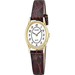 Pulsar Womens' Gold Plate White Oval Dial Brown Leather PPGD68X1