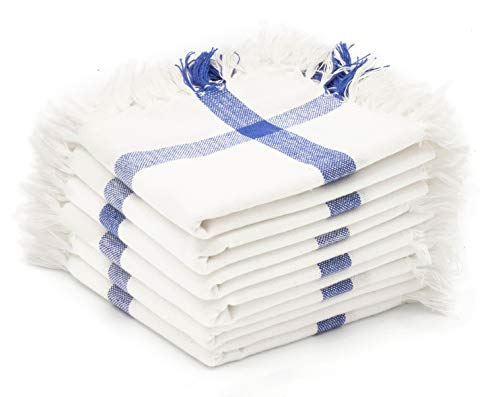 Madras Kollektionen 100% zertifizierter Bio-Baumwolle Küche Vintage Mehl Sack Küche Geschirrtücher, Commercial Grade, Mehrzweck Sehr saugfähig Küche Handtücher 28x28 White Fringe -