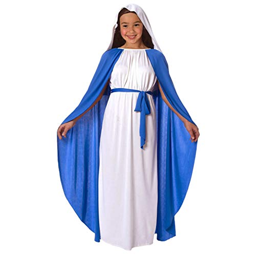 Mädchen Kostüm Maria Jungfrau - Mädchen Jungfrau Maria Krippe Mary Kostüm für Kinder fromme Weihnachts Kinderausstattung - Klein (Alter 3-5)